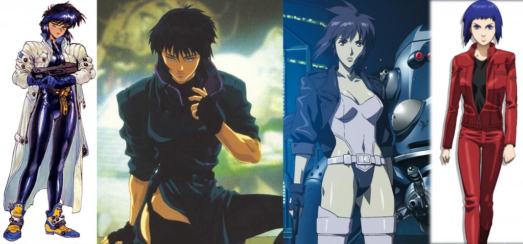 """Von Links nach Rechts: Manga (1989), Film (1995), Serie """"Stand Alone Complex"""" (2002), Serie """"Arise"""" (2013)"""